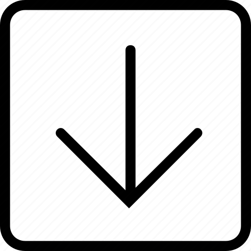 arrow, down, plain, square icon