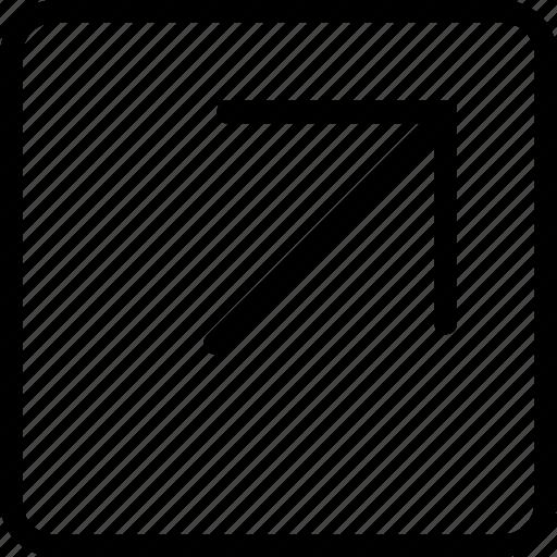 arrow, corner, plain, right, square, up icon