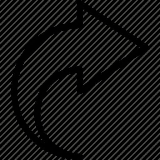 arrow, bolded, redo, semicircle icon