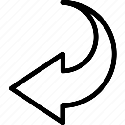 arrow, bolded, left, semicircle icon
