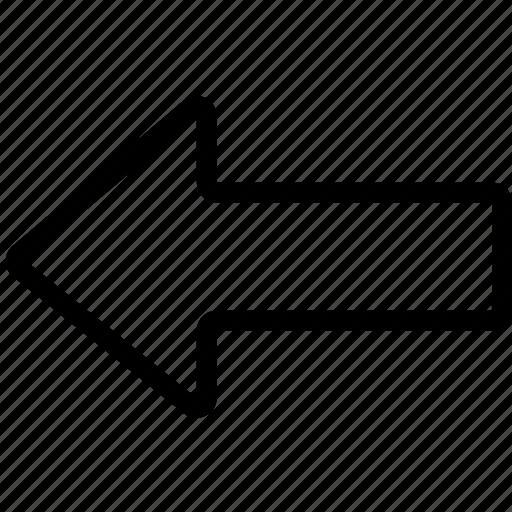arrow, bolded, left icon