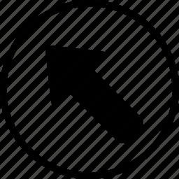 arrow, bolded, circle, left, up icon