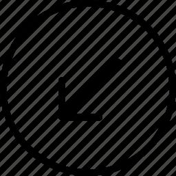 arrow, circle, down, left, plain icon