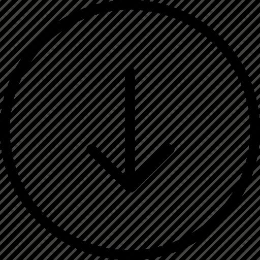 arrow, circle, down, plain icon