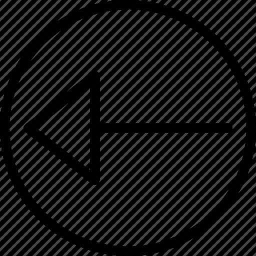 arrow, circle, left, plain icon