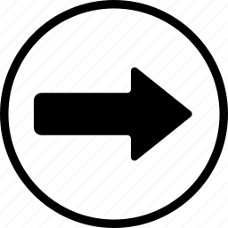 arrow, bolded, circle, right icon