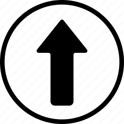 arrow, bolded, circle, up icon