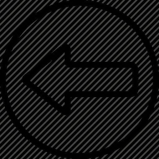 arrow, bolded, circle, left icon