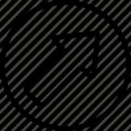 arrow, bolded, circle, right, up icon