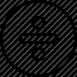 circle, divide, math icon