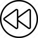 arrow, circle, double, left