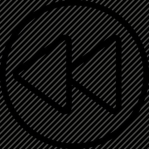 arrow, circle, double, left icon