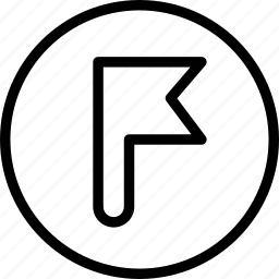circle, flag, pole, tag icon