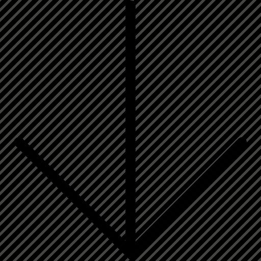 arrow, down, plain icon