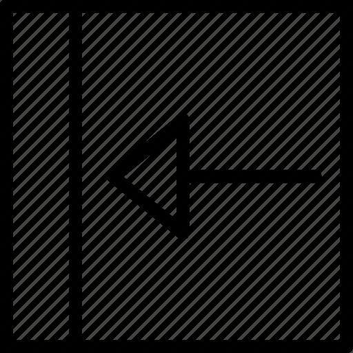 arrow, left, push, square icon