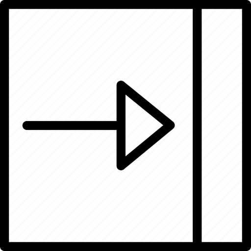 arrow, push, right, square icon