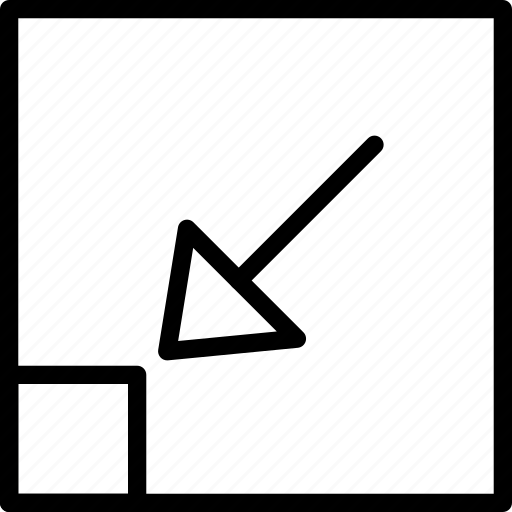 arrow, corner, drag, left, select, square icon