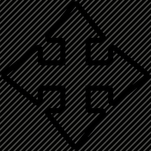 arrow, bolded, cross, plus icon