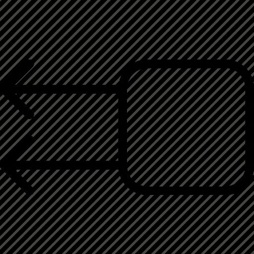 arrow, double, left, square icon