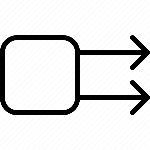 arrow, double, right, square icon