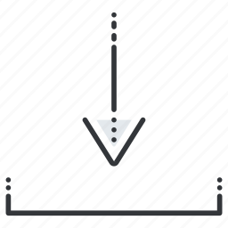 arrow, arrows, down, insert, line, pointer icon
