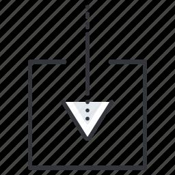 arrow, arrows, down, insert, line, pointer, square icon