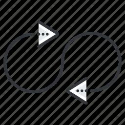 arrow, arrows, infinity, line, loop icon
