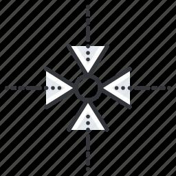 arrow, arrows, circle, line, minimize icon