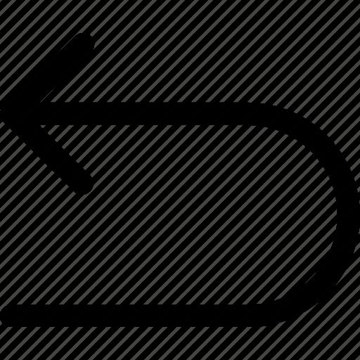 arrow, arrows, back, curve, direction, left icon