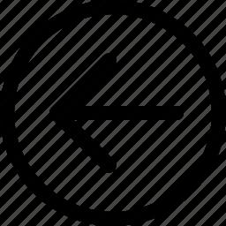 arrow, back, circle, direction, left, navigation, previous icon