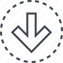 arrow, down, go, pointer icon