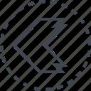 arrow, left, pointer, thick icon