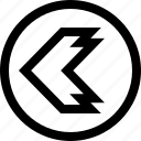 arrow, direction, left, point, sharp icon