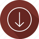 arrows, direction, down arrow, download, downloading, multimedia, orientation icon
