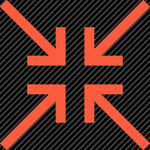 arrow, centrism, connect, cross, minimize, narrow icon