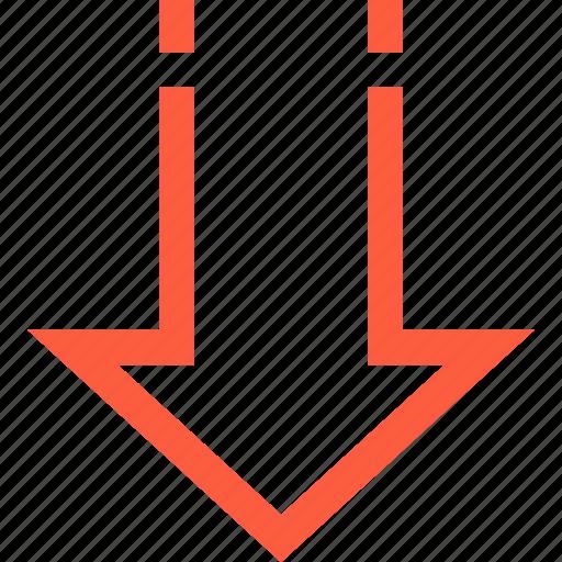 arrow, bold, decline, direction, down, pointer icon