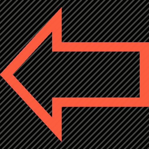 arrow, back, bold, direction, left, pointer, previous icon