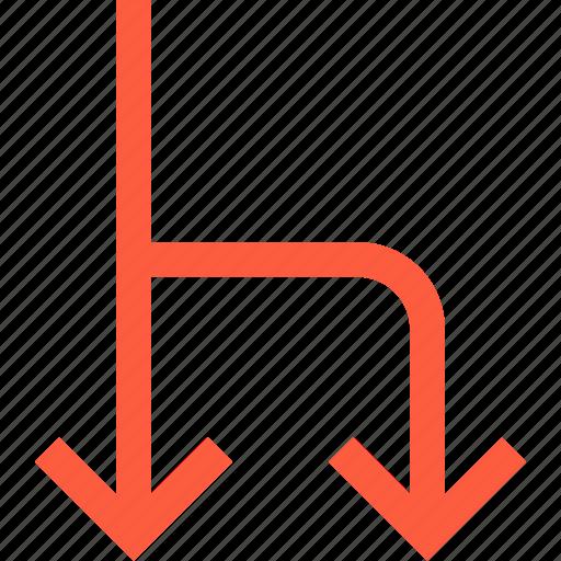 arrow, direction, divarication, divide, pointer, split, variance icon