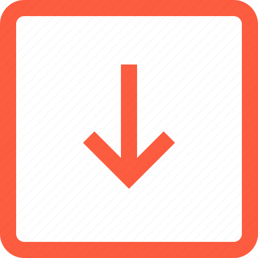 arrow, direction, down, frame, pointer, toolbar icon