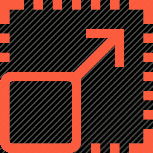 arrow, expand, fullscreen, interface, shape, square icon