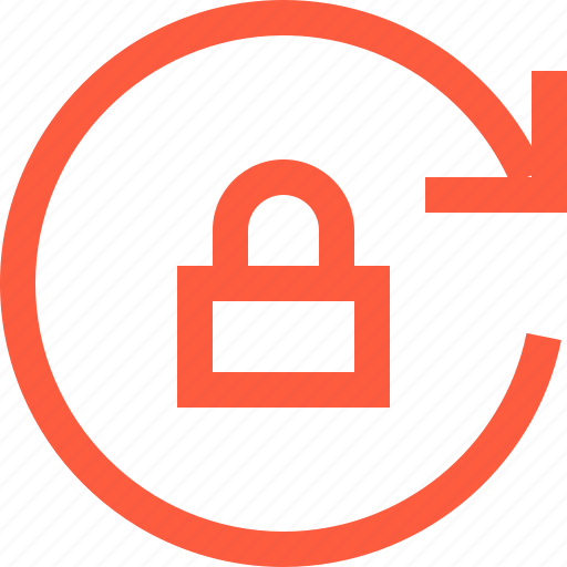 arrow, interface, lock, lockpad, reload, retry, toolbar icon
