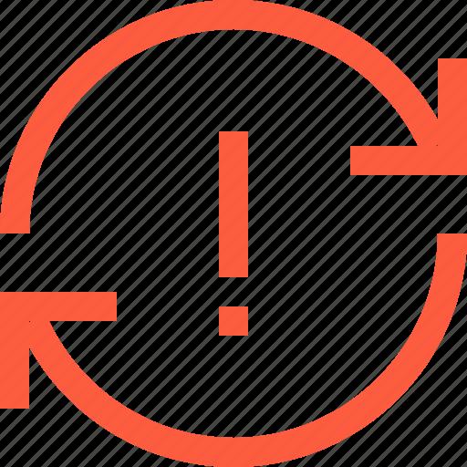 alert, arrow, notification, sync, synchronization, syncronize icon