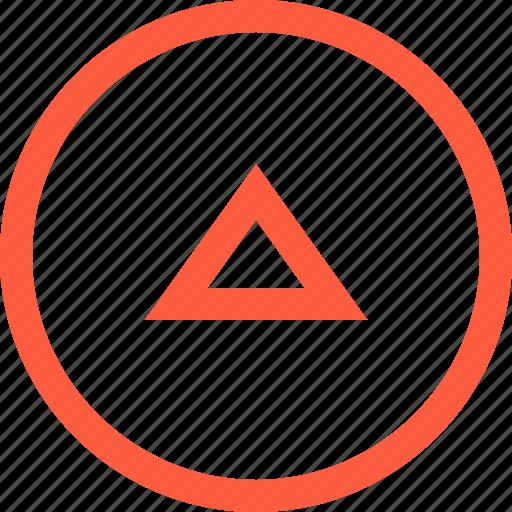 elevator, frame, round, shape, triangle, up icon