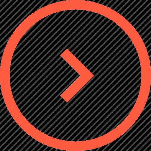 direction, forward, next, pointer, right, round icon
