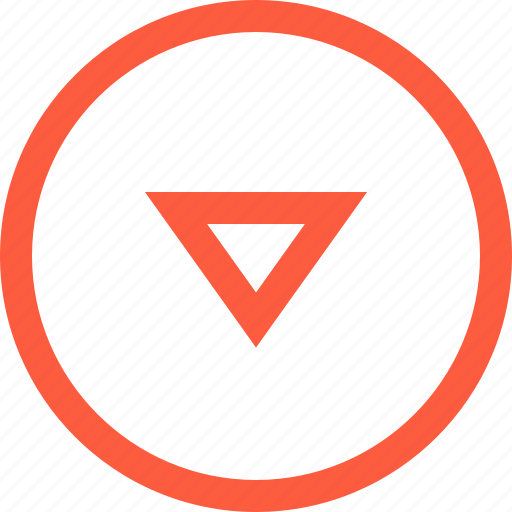 direction, down, elevator, frame, round, toolbar, triangle icon