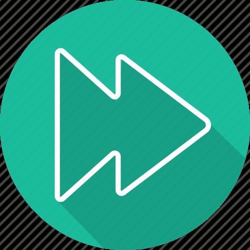 arrows, direction, interface, multimedia option, orientation, rewind, right icon
