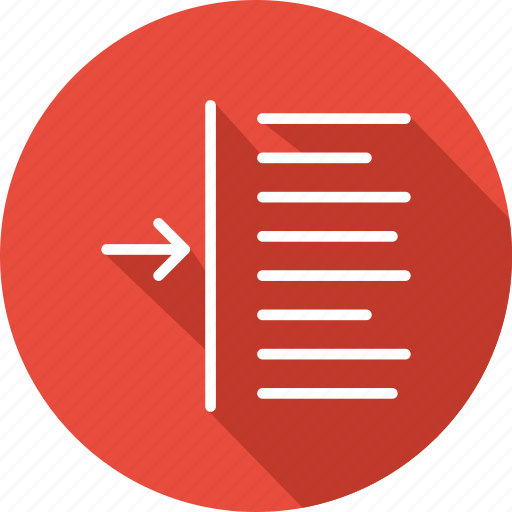 arrow, right indent, right indentation, signs, text format, text formatting icon