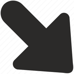 arrow, bottom, direction, right, southeast icon