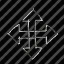 arrows, direction, movement, pan, pin, pointer