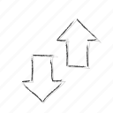 arrows, direction, down, elevator, move, up